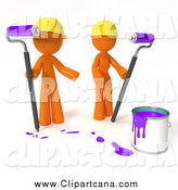 Clip Art of a 3d Orange Painters with Purple by Leo Blanchette