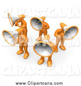 Clip Art of a 3d Orange People with Megaphone Heads by 3poD