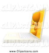 Clip Art of a 3d Orange Person Emerging from a Laptop Screen by