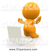 Clip Art of a 3d Orange Person Kneeling Before a Laptop by Andresr