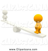 Clip Art of a 3d Orange Person on a See Saw with a White Person by