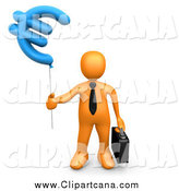 Clip Art of a 3d Orange Person with a Euro Currency Balloon by 3poD