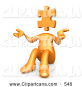 Clip Art of a 3d Orange Person with a Jigsaw Puzzle Piece Head, Sitting and Shrugging, Symbolizing Uncertainty or Confusion by 3poD