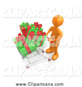 Clip Art of a 3d Orange Shopper Pushing a Cart Full of Christmas Gifts by 3poD