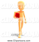 Clip Art of a 3d Orange Slender Person Carrying a Box by Ralf61