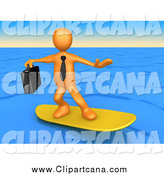 Clip Art of a 3d Orange Surfer Businessman Person on Blue Water by 3poD