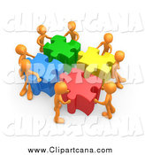 Clip Art of a 3d Orange Team Pushing Together Large Colorful Puzzle Pieces to Find a Solution by 3poD