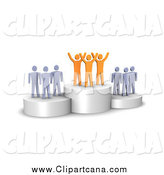 Clip Art of a 3d Successful Orange Team Standing on a Winner's Podium by Jiri Moucka