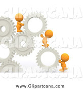 Clip Art of a 3d Team of Orange Guys Building a Gear Solution Wall by