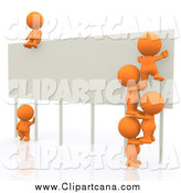 Clip Art of a 3d Team of Orange People Climbing a Billboard Sign by Andresr