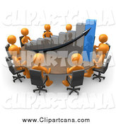 Clip Art of a 3d Team of Orange People Discussing a Bar Graph at a Meeting Table by 3poD