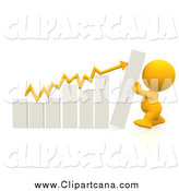 Clip Art of a 3d Yellow Person Pushing up a Bar Graph by Andresr
