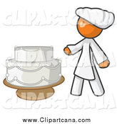 Clip Art of a Baker Orange Woman Presenting a Wedding Cake by Leo Blanchette