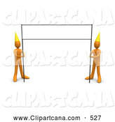 Clip Art of a Blank Banner Sign Post Being Held by a Pair of Orange People Wearing Party Hats by 3poD
