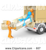 Clip Art of a Blue Person Slacking on a Couch While Two Orange Workers Load a Sofa into a Moving Truck, Symbolizing Laziness and Poor Teamwork, on White by 3poD