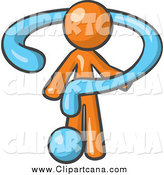 Clip Art of a Blue Question Mark Draping an Orange Man by Leo Blanchette