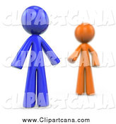 Clip Art of a Blurred 3d Orange Man Reaching for a Blue Man by Leo Blanchette