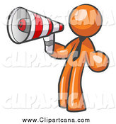 Clip Art of a Business Orange Man Announcing with a Megaphone by Leo Blanchette