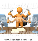 Clip Art of a Busy Orange Employee Standing in Front of Their Desk Chair and Multitasking by 3poD