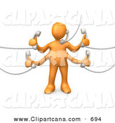 Clip Art of a Busy Orange Man Handling Five Different Telephone Conversations While Multi Tasking at Work by 3poD