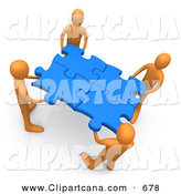 Clip Art of a Busy Team of Four Orange People Holding up Connected Pieces to a Gold Puzzle, Symbolizing Excellent Teamwork, Success and Link Exchanging by 3poD