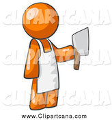 Clip Art of a Butcher Orange Man Holding a Meat Cleaver Knife by Leo Blanchette