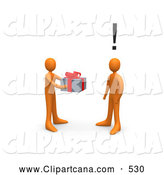 Clip Art of a Caring Orange Person Handing a Present to a Surprised Person by 3poD