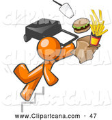 Clip Art of a Clumsy Orange Man Tripping on Stairs, with Fast Food and a Rolling Briefcase Flying by Leo Blanchette