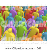Clip Art of a Colorful and Diverse Crowd of People Standing in Rows and Facing Forward by 3poD