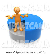 Clip Art of a Confused Orange Person Shrugging and Standing in a Sinking Spot of a Blue Pie Chart by 3poD