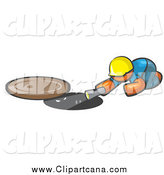 Clip Art of a Construction Orange Man Shining a Flashlight down a Man Hole by Leo Blanchette