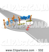 Clip Art of a Construction Zone of Orange Men Carrying Com and Http Across a Road Block, Symbolizing Web Construction by 3poD