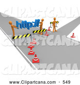Clip Art of a Construction Zone of Two Orange Men Carrying Http Across a Road Block by 3poD