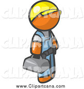 Clip Art of a Contractor Orange Man Blue Collar Worker Wearing a Hardhat and Carrying a Tool Box by Leo Blanchette