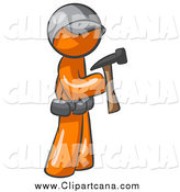 Clip Art of a Contractor Orange Man Hammering by Leo Blanchette