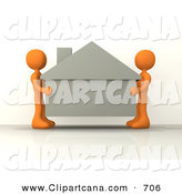 Clip Art of a Couple of Orange People Carefully Moving a House to a New Location by 3poD