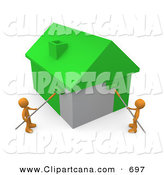 Clip Art of a Couple of Orange People Using Roller Brushes to Paint a Home Green, Symbolizing Upgrading a Home to Be More Energy Efficient by 3poD
