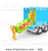 Clip Art of a Couple Orange Male Figures Lifting and Loading a Green and Orange Living Room Sofa into a Blue Moving TruckCouple Orange Male Figures Lifting and Loading a Green and Orange Living Room Sofa into a Blue Moving Truck by 3poD