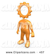 Clip Art of a Creative Cog Headed Orange Person Thinking by 3poD
