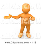 Clip Art of a Cute Orange Person Standing and Holding One Arm in Front of Him and the Other out to the Side, Presenting Something or Explaining. by 3poD