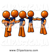 Clip Art of a Dance Team of Orange People by Leo Blanchette