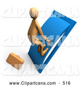 Clip Art of a Desperate Orange Business Person by a Briefcase, Pushing His Body Against a Door to Try to Open It by 3poD