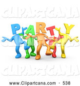 Clip Art of a Diverse Line of Colorful People with Letter Heads Spelling out Party, Dancing by 3poD