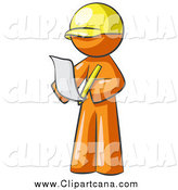 Clip Art of a Draftsman Orange Man Reviewing Plans by Leo Blanchette