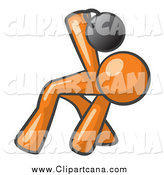 Clip Art of a Fit Orange Man Bent over and Working out with a Kettlebell by Leo Blanchette