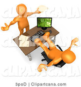 Clip Art of a Flustered Orange Co-Worker Employee Man Holding His Arms up While Complaining to Their Lazy Boss or Colleague While They Pick up All the Slack by 3poD
