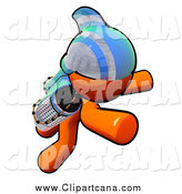 Clip Art of a Flying Orange Man Rocketeer with a Jetpack by Leo Blanchette