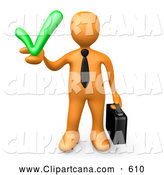 Clip Art of a Friendly Orange Business Man Carrying a Briefcase and Holding a Green Check Mark, Symbolizing Solutions and Approval by 3poD