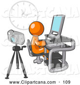 Clip Art of a Friendly Orange Man Using a Desktop Computer with a Camera on a Tripod Behind Him and a Big Clock on the Wall in the Background by Leo Blanchette