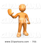 Clip Art of a Friendly Orange Person Holding Their Hand out and Gesturing to Stop by 3poD